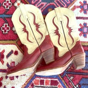 Vintage red Frye cowboy boots leather snake rodeo